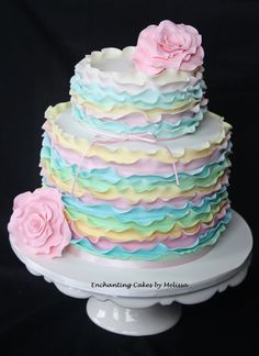 Sweet pastel-colored cake w/ Ruffles and Large Flower accents