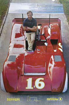 Chris Amon posing with his Ferrari 612 Can-Am car, 1969.