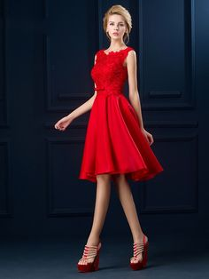 Knee-Length Round Neck Bowknot Cocktail Dress