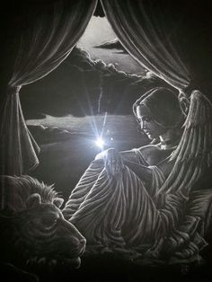 My favorite piece of art. Its on black paper and drawn only with white chalk. Amazing art work!! In memory and created for our baby boy. RIP James Robert Clarke!!