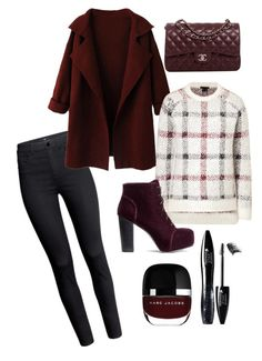 """""""X-mas"""" by theresaas ❤ liked on Polyvore featuring H&M, Lancôme, Yves Saint Laurent, Theory, Chanel, white, black, darkred and christmas2014"""