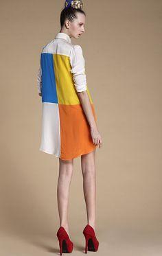 White Lapel Sashes Buttons Silk Dress