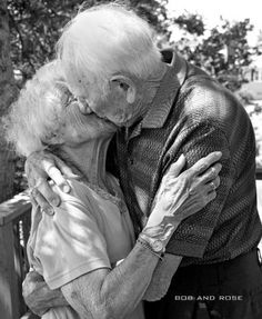 """I love when people see a hot young couple that's been together one month and they say """"BEST COUPLE EVER!"""" I see a couple like this that's been married for over 50 years and say, """"CUTEST COUPLE EVER!"""" True love is everlasting. Vieux Couples, Old Couples, All You Need Is Love, Love Is Sweet, My Love, Sweet Lord, True Love, Grow Old With Me, Growing Old Together"""