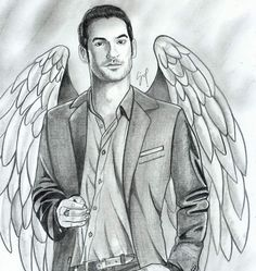 "lucifer on Instagram: ""Desenho lindo que o  fez!!! Please Follow us @lucifer_mtx #creditto @lucifer.brasil"" Tumblr Drawings, Tumblr Art, Easy Drawings, Tom Ellis Lucifer, Lauren German, Watercolor Wallpaper, Beautiful Drawings, Beautiful Pictures, Morning Star"