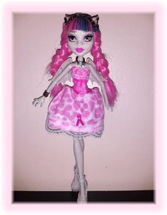 Monster High Doll OOAK Clothes Pink Cheetah Print Dress by awiety, $15.95