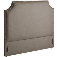 """<div class=""""hide-on-sets"""">Our Leslie headboard's clean contours and contemporary styling are sheathed in soft elephant-gray fabric. Covered corners sculpt an element of surprise in its sleek silhouette, while bronzed nailheads articulate every sophisticated line and curve. A Pier 1 exclusive.  </div>"""