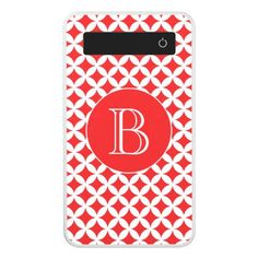 Red and White Geometric Pattern Custom Monogram Power Bank - monogram gifts unique design style monogrammed diy cyo customize