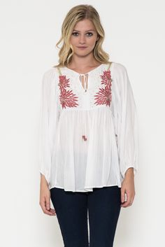 e609415b7722d Esley Ivory Embroidered Beaded Peasant Top 30115Ivory Flower Embroidery
