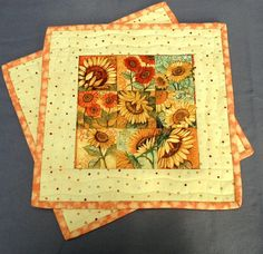 Quilted Snack Mats  Sunflower Snack Mat  Mug Rug by birdsongquilts