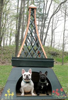 French Bulldogs sitting in an Eiffel Tower dog house. ... Original photo source not yet identified. ... However, research reveals that the dog house was created for the 2009 Barkhitecture exhibit in Akron, Ohio.  For info about the exhibit and a glimpse of the dog house sans Frenchies, see http://thepoodleanddogblog.typepad.com/the_poodle_and_dog_blog/2009/05/barkhitecture.html)