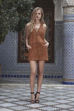 Hazan Suede Mini Dress