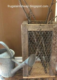 Frugal Ain't Cheap: Chicken wire project with wood from the scrap heap