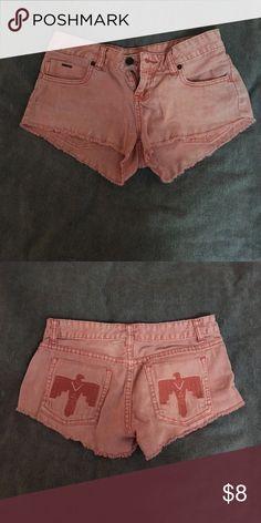 pink jean shorts cute pink jean shorts! birds on back pockets. Billabong Shorts Jean Shorts