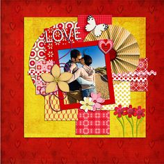 Digital Scrapbooking: Adom Varod Digital Scrapbook Kit (Red, Pink, Gold) Buy 2 Items Get 1 Free Special.