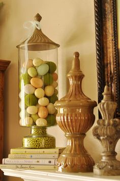 Wa-lah! Super easy and gorgeous Easter decor -- fill glass jars or with pretty Easter eggs.
