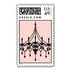 Postage Stamp   Pink Chandelier Damask