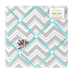 Sweet Jojo Designs Zig Zag Turquoise and Gray Memo Board