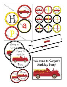 Printable Firetruck Party Pack Personalized by willowtree84, $15.00