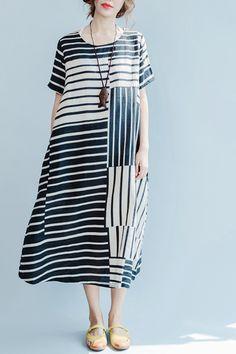 Black and Rice Stripe Linen Summer Long Dresses Women Clothing Q3110