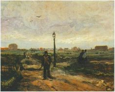Outskirts of Paris by Vincent van Gogh   Painting, Oil on Canvas on Cardboard  Paris: Autumn, 1886 Private collection  F: ;264, ;JH: ;1179