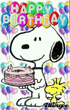 Happy Birthday - Snoopy Holding a Birthday Cake With Woodstock Standing Next to Him