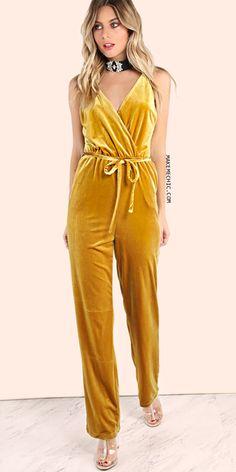 Velvet Tie Waist Jumpsuit GOLD