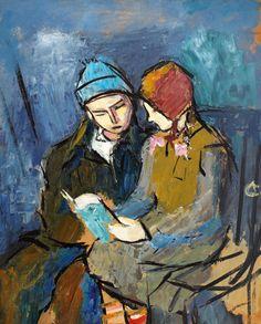 Little Brothers - Alexandru Ciucurencu 1949 Romanian oil on cardboard , 60 x cm. Post Impressionism, Impressionist, Frasier Crane, Little Brothers, Portraits, Illustrations, Kids Reading, Art Auction, Old Photos