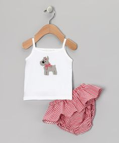 Take a look at this White Scottie Dog Camisole & Plaid Ruffle Diaper Cover by Victoria Kids on #zulily today!