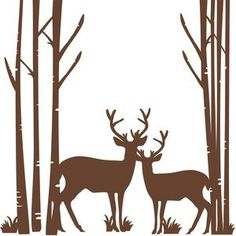 Silhouette Design Store - View Design #103705: birch trees with deer