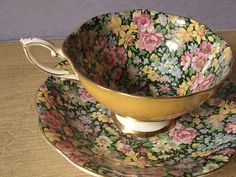 Vintage chintz tea cup set, Royal Standard English tea set, yellow tea cup and saucer, black bone china tea set