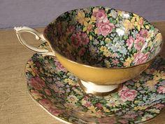 Vintage chintz tea cup set, Royal Standard English tea set, yellow tea cup and saucer, black bone china tea set
