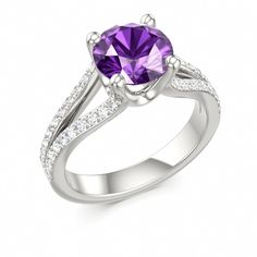 Amethyst Engagement Ring MADONNA at Colros of Eden #amethyst #ring
