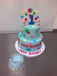 Primary Colored Polka Dotted 1st Birthday Cake