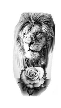 Lion And Rose Tattoo, Leo Lion Tattoos, Lion Arm Tattoo, Lion Tattoo Sleeves, Rose Tattoos For Men, Mens Lion Tattoo, Boy Tattoos, Body Art Tattoos, Mandala Lion Tattoo