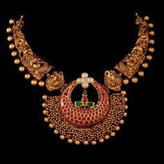 Antique Gold Peacock CZ Haram | Fashionworldhub