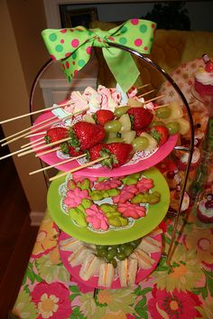 spa party food. Like the pineapple, grape, strawberry idea
