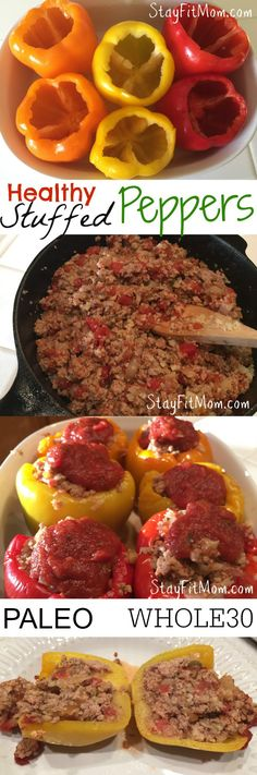 Ground Turkey and Cauliflower Rice Stuffed Peppers -Whole 30 Compliant(Baking Eggplant Paleo) Whole 30 Diet, Paleo Whole 30, Whole 30 Recipes, Paleo Stuffed Peppers, Stuffed Peppers With Rice, Stuffed Pepers, Clean Eating Recipes, Healthy Eating, Paleo Recipes