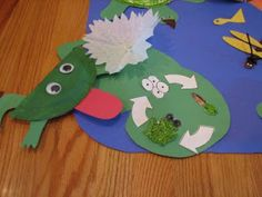Cute idea for a frog and Lily Pad craft