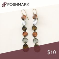 """Metal Mixture Dangle Simple Dangle Earring with all mixes of metal. Copper, silver, bronze in color. Rustic feel. Hangs 3 1/4"""". Jewelry Earrings"""