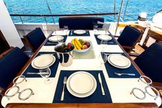 Yachts, Table Settings, Greek, Exterior, Place Settings, Outdoor Rooms, Greece, Ship, Tablescapes