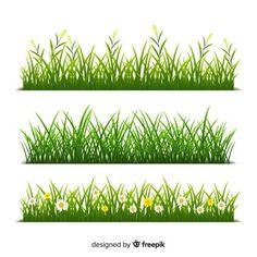 Vector Gratis   Collección dibujada a mano de bordes de hierba verde Jungle Illustration, Bible Verses For Kids, Types Of Grass, Vector Border, Nature Vector, What To Draw, Alphabet Design, Painting Tips, Painting Tutorials