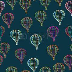 Hot air balloons seamless pattern, abstract art photo