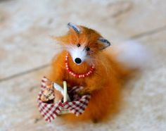 Knitted Fox Doll Animal Toy Soft Sculpture Orange by OlgaMareeva