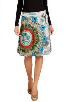 Sarah Rep Desigual women's skirt from the Galactic line. A cheerful, colorful skirt with the circles and kaleidoscopic patterns characteristic of our Galactic line. Multi-toned beauty.