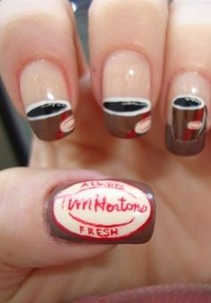 Tim Horton Nail Art ..  Look Amanda u can do ur nails like this for Keith!!!! <<< LOL>>>
