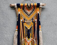 PIPA wall hanging unique boho macrame with beads and knots on