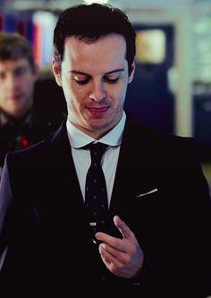 Andrew Scott - yeah that tongue is totally sticking out at my text message to him :p Sherlock Moriarty, James Moriarty, Watson Sherlock, Sherlock Quotes, Sherlock John, 221b Baker Street, Andrew Scott, John Watson, Johnlock
