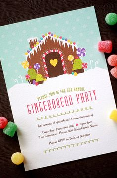 Shoda Kraicinski Pierce gingerbread house party this year for the kids? Christmas Party Invitations, Xmas Party, Holiday Parties, Gingerbread House Parties, Christmas Gingerbread House, Gingerbread Houses, Christmas Flyer, Christmas Love, House Party Invitation