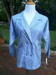 Vintage Double Breasted Blue/White Striped Cotton Unconstructed Jacket