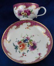 Antique 18thC Meissen Porcelain Puce Trim & Floral Cup & Saucer Porzellan Tasse